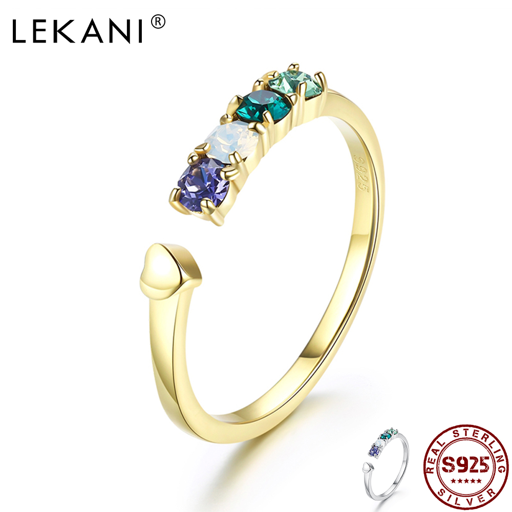 LEKANI 925 стерлингового серебра с сердцем на палец, кольца для женщин с украшением в виде кристаллов от Swarovski открытые регулируемые Обручение ю...