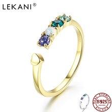 Lekani 925 prata esterlina coração anéis de dedo para mulher cristal de swarovski aberto ajustável anel de noivado jóias finas