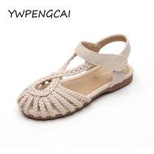 YWPENGCAI sandalias de verano para niño niña, talla 21-36, zapatos de playa estilo gladiador Vintage, sandalias tejidas para niñas