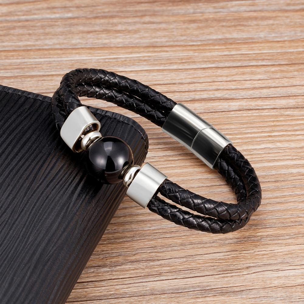 New Punk Leather Men Bracelet Charm Stainless Steel Magnet Mens Jewelry 12 Style Natural Round Stone Beaded Bracelet Friend Gift