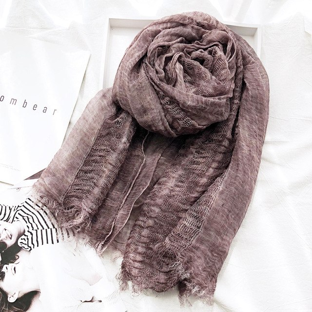 Unisex Japanese Style Spring Winter Scarf Cotton And Linen Solider Color long women's scarves shawl fashion men scarf