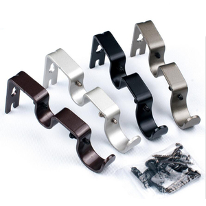3Pieces Double Curtain Rod Wall Bracket Holder for for 1 and 5/8inch Rod,Durable,includes mounting screws