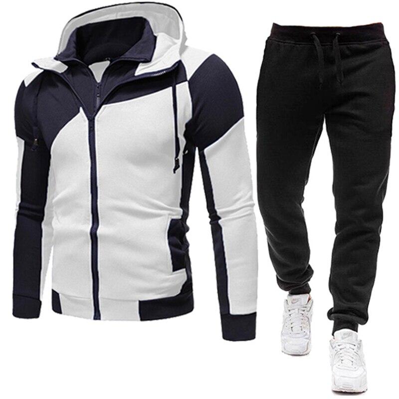 2020 New Autumn Men Tracksuit 2 Piece Sets Hoodies+Pants Sweater Sports Suit Streetswear Jackets 2