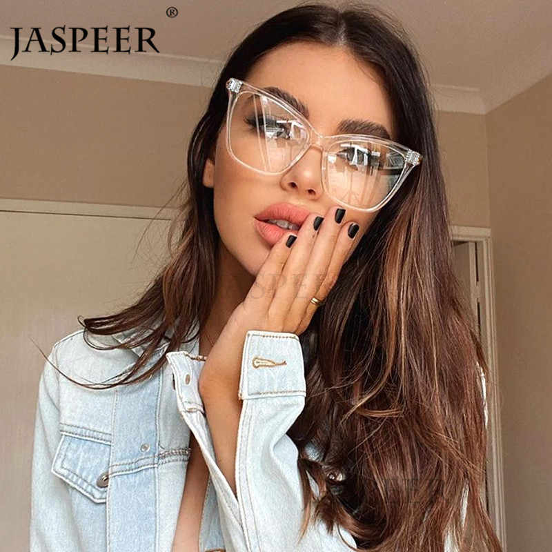 JASPEER kocie oko oprawki do okularów luksusowe diamentowe stylowe akcesoria optyczne Rhinestone okulary ramki damskie ramki męskie oprawki do okularów korekcyjnych
