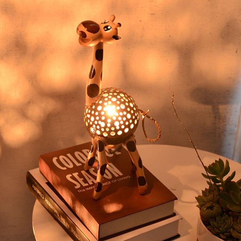 Creative table lamp night light giraffe gift coconut shell lamp bedroom bedside net red atmosphere handicraft home craft wood