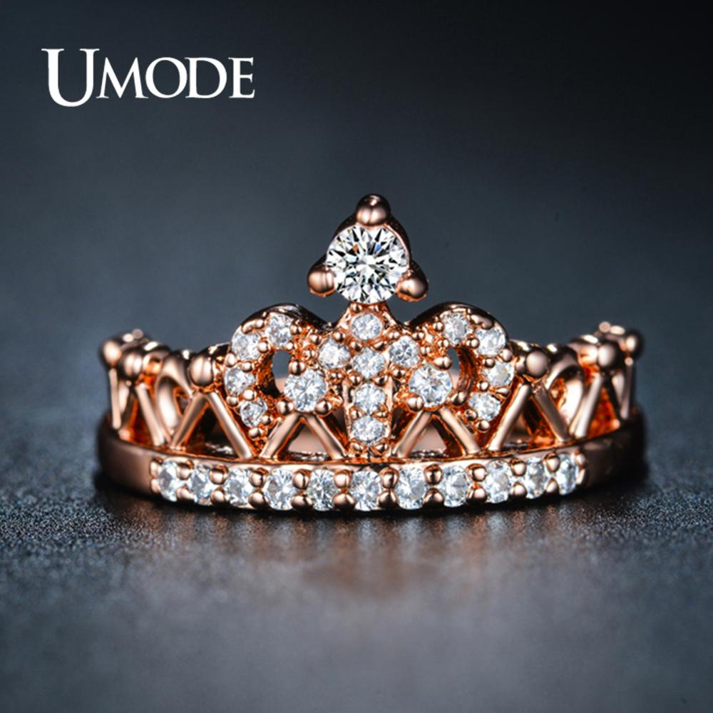 UMODE Crown Rings for Women Zircon Rose Gold Fashion Luxury Wedding Engagement Promise Rings Jewelry Accessories UR0217(China)