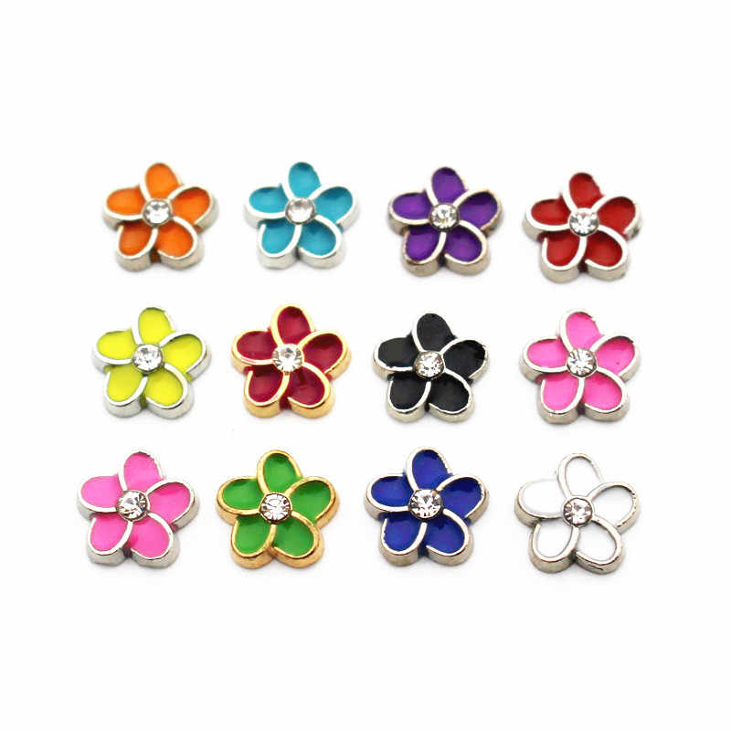 10pcs/lot Enamel Colorful Metal Flower Crystal Floating Charms For Living Glass Memory Lockets Necklace DIY Jewelry