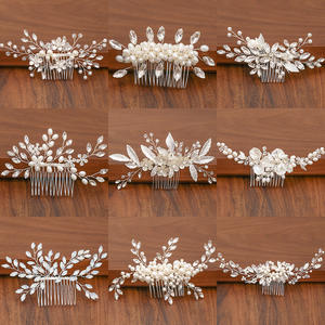 Combs Hair-Accessories Jewelry Rhinestone Bridal-Headpiece Pearl Wedding-Hair Silver-Color