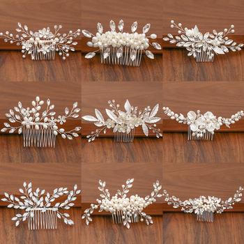 Kolor srebrny perła Rhinestone ślubne grzebienie do włosów akcesoria do włosów dla kobiet akcesoria ozdoby do włosów biżuteria ozdoba ślubna do włosów tanie i dobre opinie FORSEVEN Ze stopu cynku Moda Metal Włosów grzebienie Kobiety TRENDY Hairwear FS2021 PLANT Pearl Rhinestone Hair Combs
