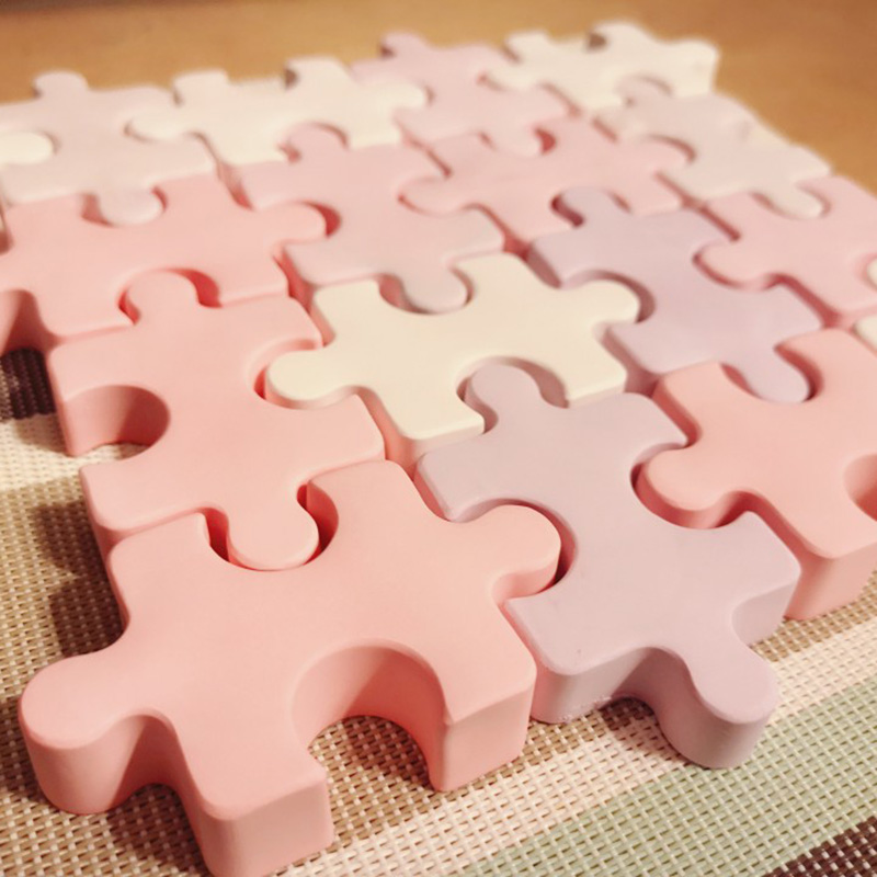 Puzzle Shape Silicone Soap Mold Aroma Plaster Gypsum Mould DIY Ice Cube Tray Molds Chocolate Cake Decorating  Tools
