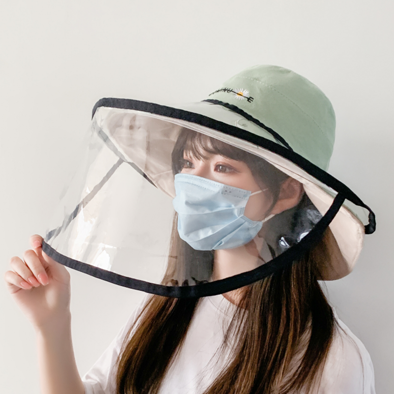 Protective Face Shield Cover Hat Anti Spitting Saliva Drool Fisherman Cap With Detachable Clear Facial Mask Dual-use Sun Hat