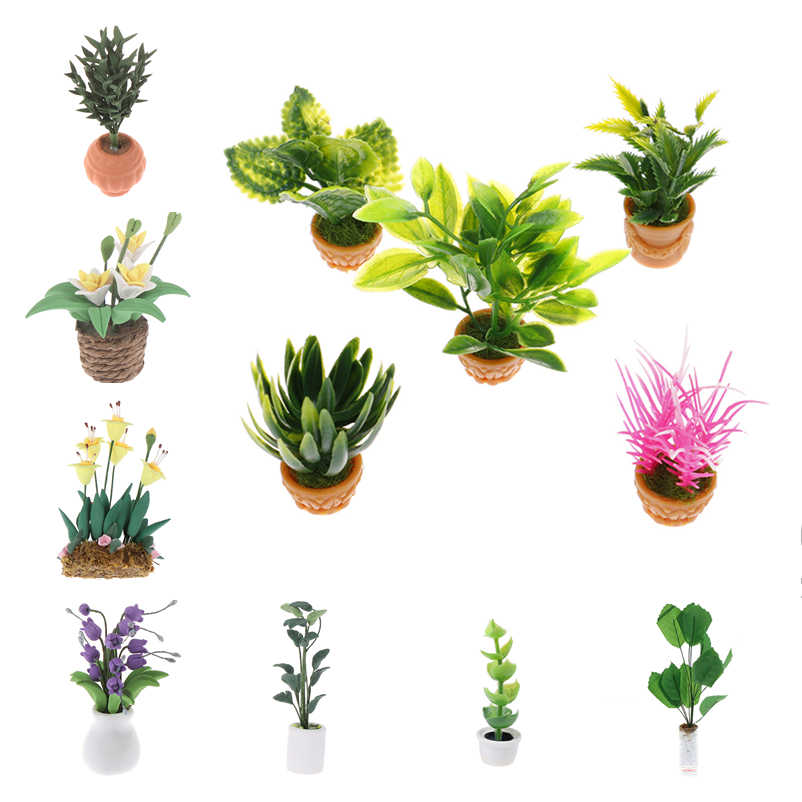 Hot Sale DIY Dollhouse Micro Landscape Garden Potted Plant Flower Boxes Green Plants Decoration Accessories Green Plant Model