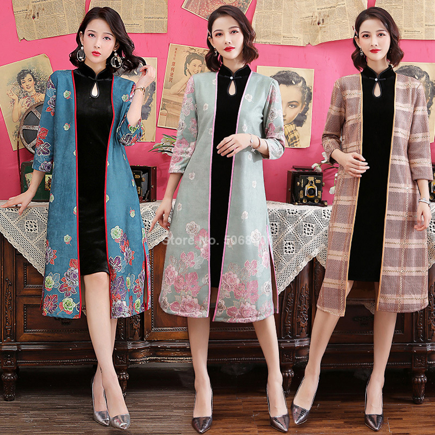 Chinese Traditional Clothing Cheongsam Qipao For Women Girls Asian Streetwear Ao Dai Morden Suede Coat Retro Dress Two-piece Set