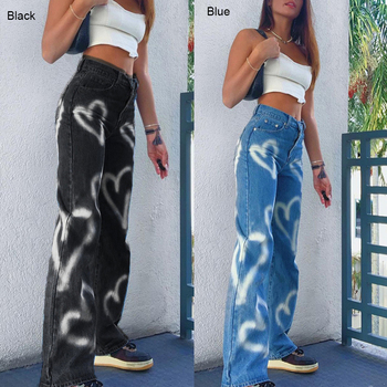 Vintage Heart Printed Y2K Baggy Jeans Women High Waist Harajuku Aesthetic Mom Jeans Denim Streetwear 90s Trousers 1