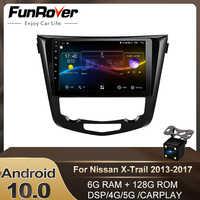 Funrover Radio de coche reproductor Multimedia Android 10,0 para NNissan X-Trail XTrail de T32 Qashqai J11 T31 J10 navegación Gps Dvd Carplay