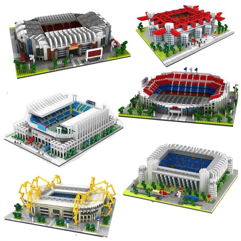 Football Old Trafford Camp Nou Bernabeu San Sir Stadium Real Madrid Barcelona Club DIY Mini Diamond Blocks Building Toy No Box