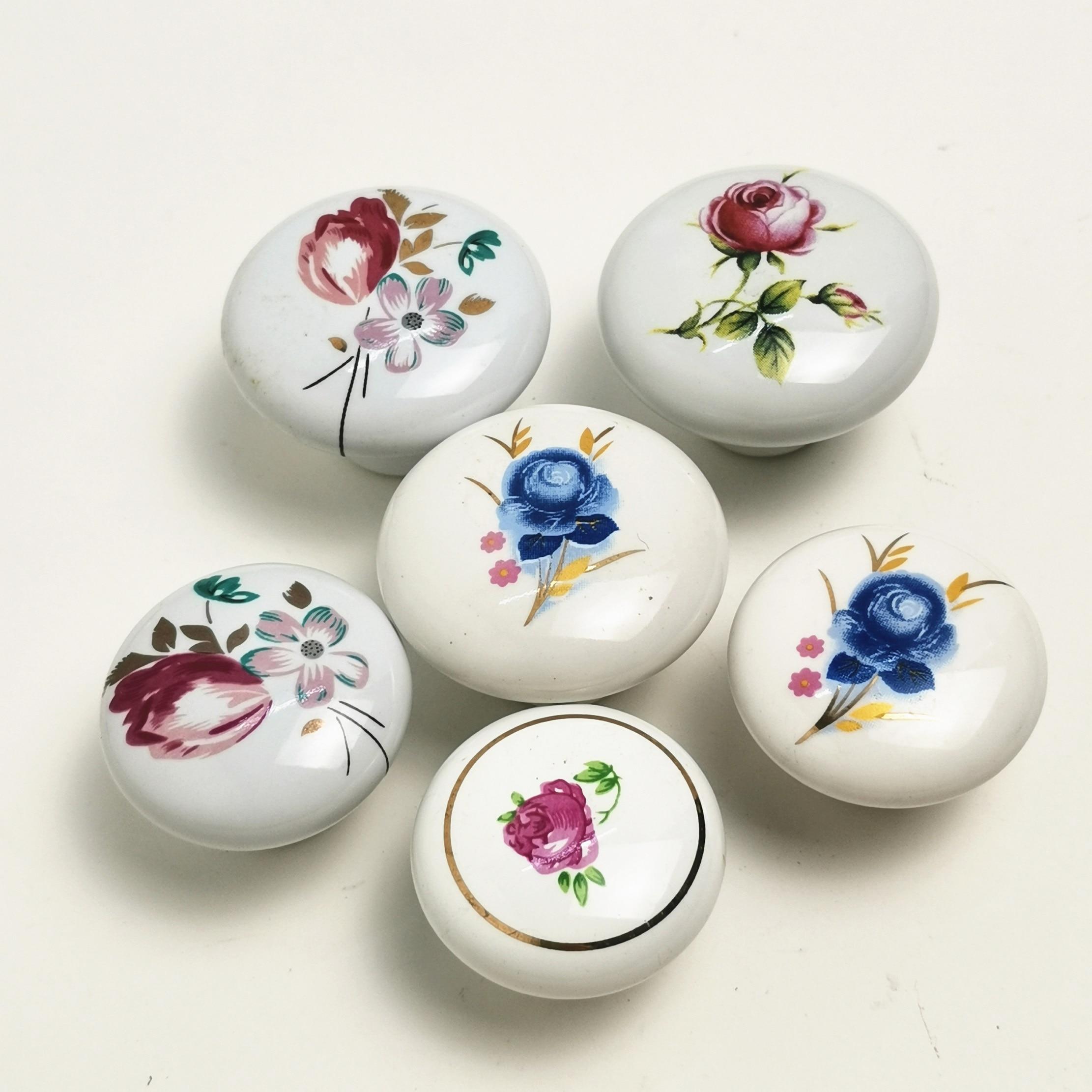 White Children Room Ceramic Single Round Wardrobe Kitchen Garden Door Handle Cabinet Handle Cartoon Furniture Handles Knobs