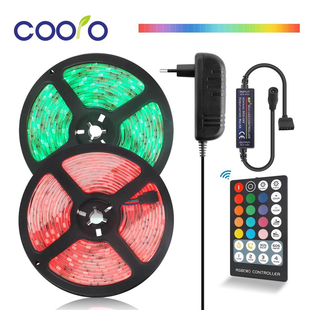 DC12V LED Strip Light Kit RGB 5050 SMD Flexible Ribbon LED Light Strip 5M Tape Diode + 28 Keys Controller + Power Adapter