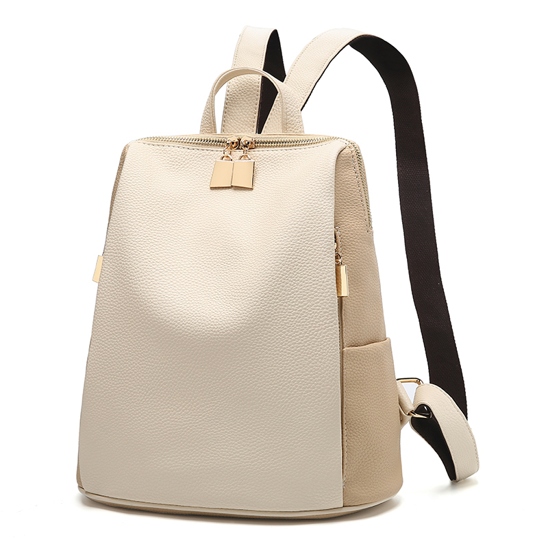 Women's Schoolbag School Style Leather Bag Simple Design Women's Leisure Backpack Brand