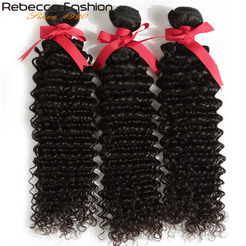 Rebecca Fashion HAIR Brazilian Kinky Curly Hair Bundles Remy Human Hair Extensions Nature Color Thick Kinky Curly Bundles