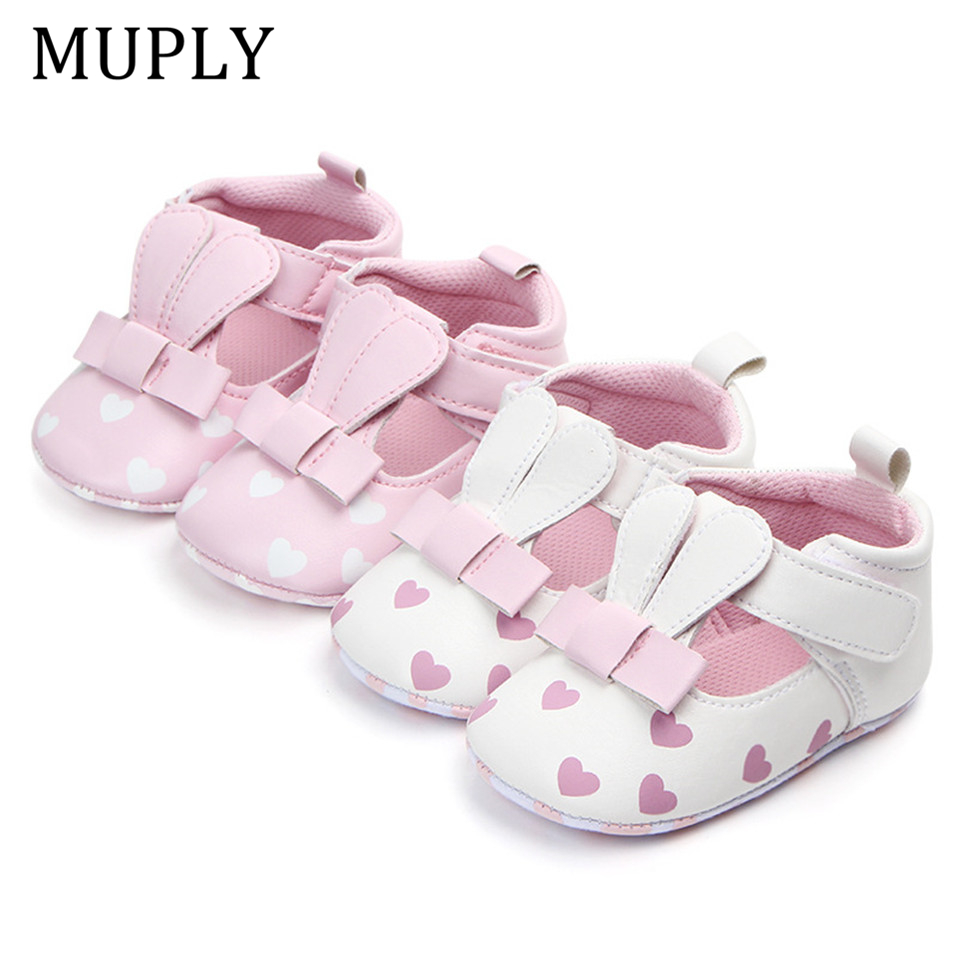 Baby Princess Shoes For Newborn Animal Pattern Infant Print Love Soft Sole Shoes PU Leather Sandal Rabbit Ear Shoes For 0-18M