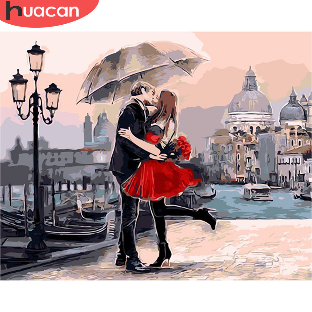 HUACAN Paint By Numbers Lovers Figure Painting Kits Drawing Canvas HandPainted Gift DIY Oil Painting Pictures Scenery Home Decor