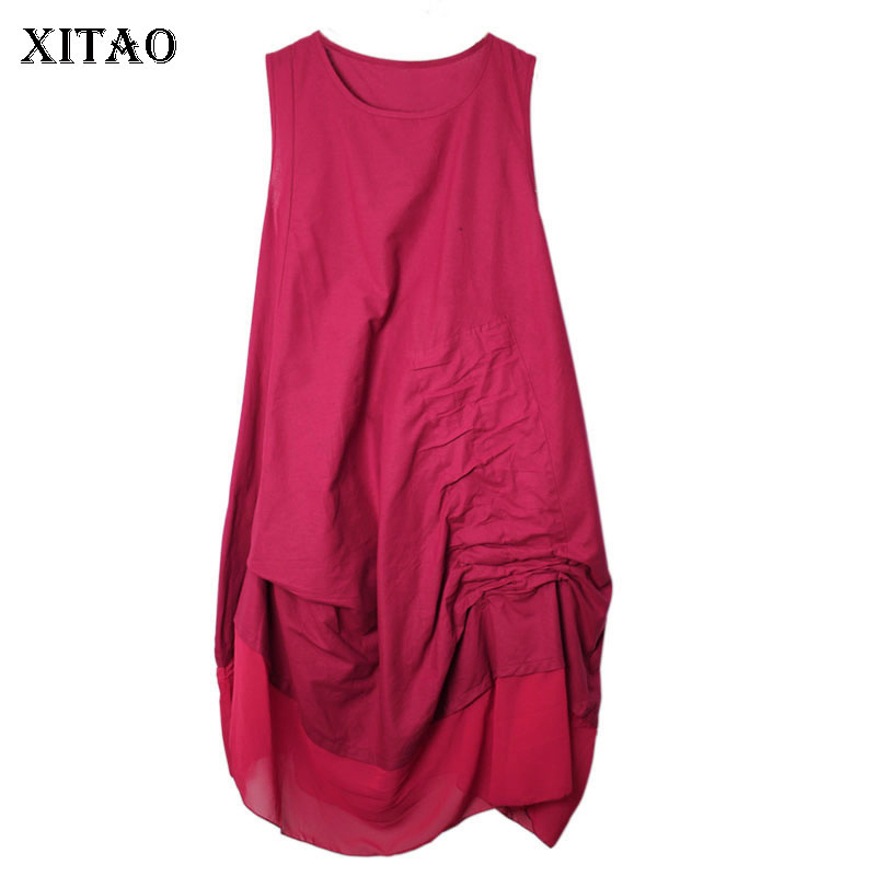 [XITAO] 2019 Spring Summer New Retro Ethnic Style Solid Color Asymmetrical Sleeveless O-neck Patchwork Draped Dress DLL3497(China)