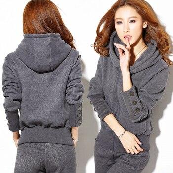 Women's sets autumn winter women hoodie pants set zipper tracksuit sweatshirt trousers sportswear tracksuit suits