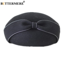 BUTTERMERE Stewardess Pillbox Hats For Women Wool Black Autumn Winter Beret Ladies Bowknot Wedding Fascinator