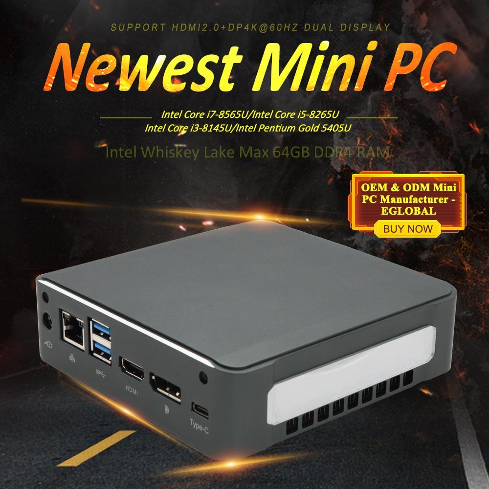 8th Gen Intel Core i7 8565U Mini PC Quad Core 4,0 GHz 8MB Cache NUC Computer Win 10 4K HTPC Intel UHD Grafiken 620 TV Box AC Wifi