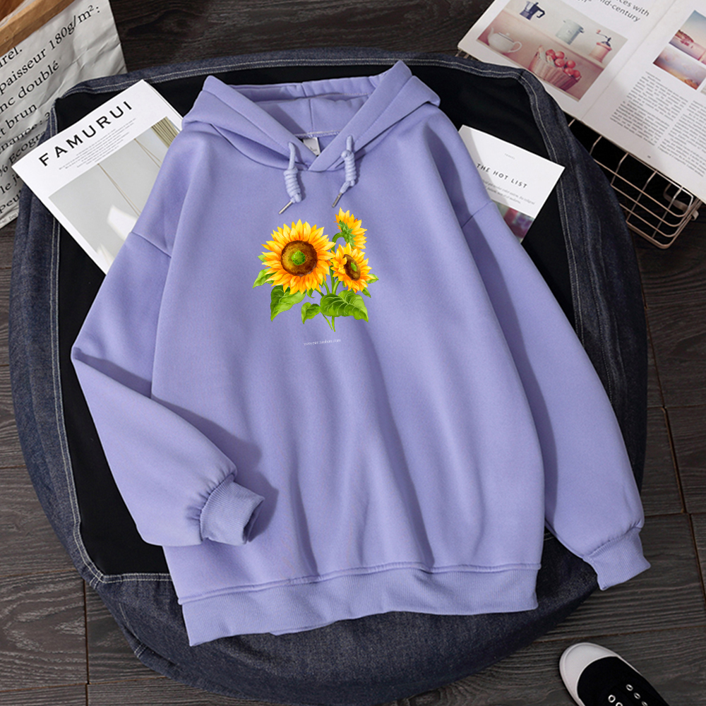 Woman Hoodies Sweatshirt Comfortable Aesthetic Pullover Elegant Jacket Winter Jogging Femme Thick Loose Sun Flower Graphic Print