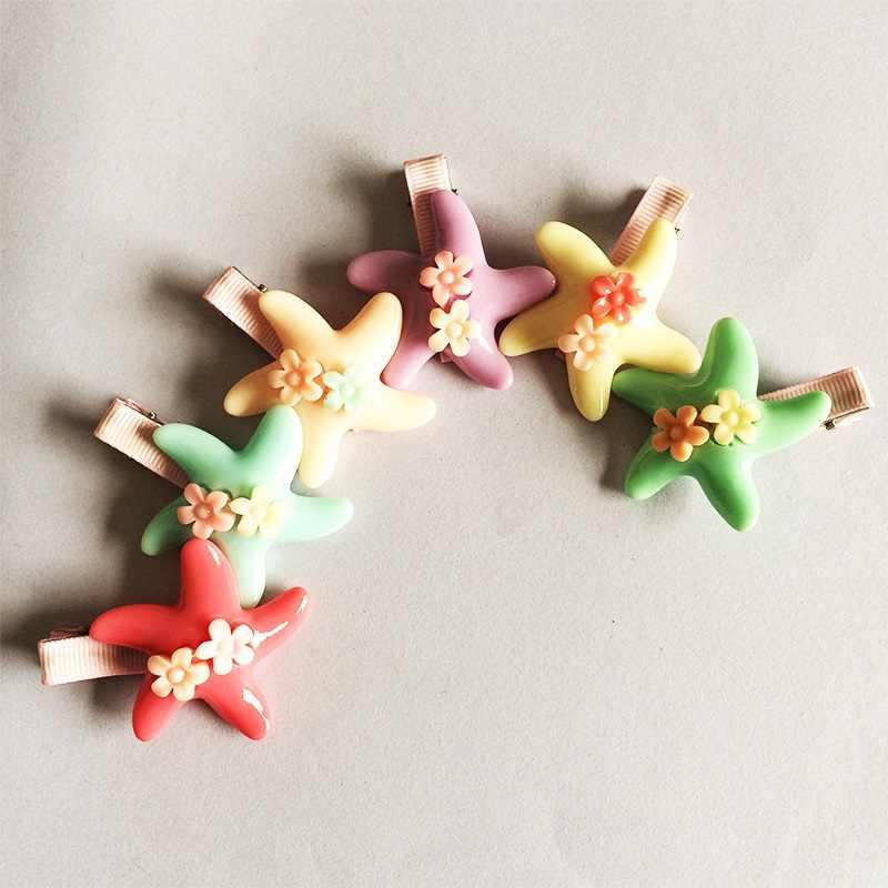 1 ชิ้น/ล็อตใหม่เด็กคลิปดอกไม้คู่ส้อม Barrette Solid Handmade Hairpins เด็กปลาดาวอุปกรณ์เสริม Candy สี