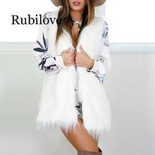 Rubilove Winter White Fur Vest Women Warm Cardigan Outerwear Waistcoat Elegant Sleeveless Coat Faux Fur Jacket Plus Size 3XL наушники bluetooth беспроводные с микрофоном gal bh 3009 цвет черный