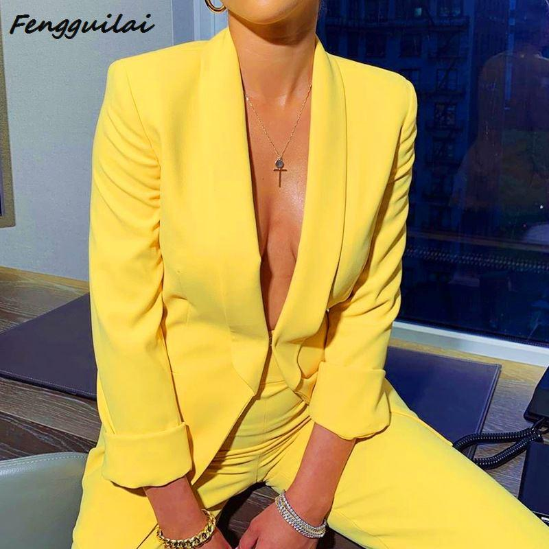 Work OL Suit Female Blazer And Pants Suit Set Female Coat V Neck Sexy Chic Yellow Suit Women Office Set 2 Pieces Outfits Female