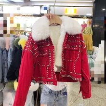 2019 Autumn High quality New With faux Fox Fur Collar removable rivet diamonds FUR denim coat women fashion casual real Fur(China)