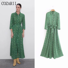 COZARII summer dress women vestidos casual style dot sashes turn-down collar de fiesta party tops plus size