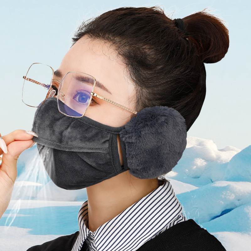 Mask Female Winter Two-in-one Warm Mask Earmuffs Thickening Riding Windproof
