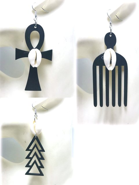 Darmowa wysyłka 2020 nowy egipski anhk shell style proste moda drewniane spadek kolczyk, można mieszać, 3 par/partia