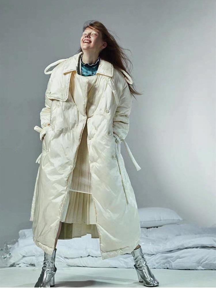 11.11Original Design Winter Women Vintage Brief Casual Loose Thick Warm Long Puffer Jacket Ladies Elegant Black/Beige Down Coat