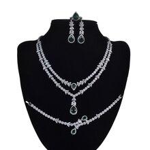HADIYANA ensemble de bijoux pour femmes, magnifique ensemble de bijoux, collier, boucles doreilles, Bracelet, anneau, cadeau de mariage, CNY0055