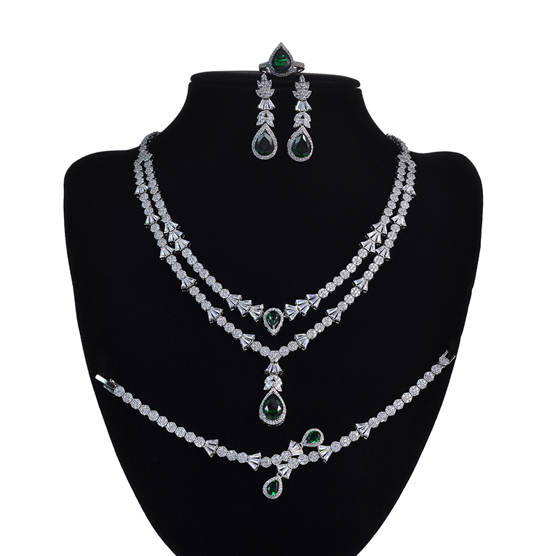 Jewelry Set HADIYANA Fashion Gorgeous Necklace Earrings Ring  Bracelet Set For Women Party Gift Wedding CNY0055 Femme JewelryJewelry  Sets