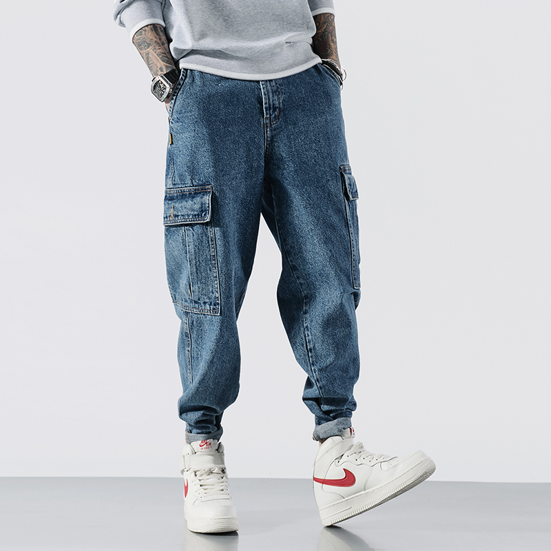 Japanese Style Fashion Men Jeans High Quality Loose Fit Big Pocket Cargo Pants Harem Jeans Streetwear Hip Hop Tapered Jeans Men