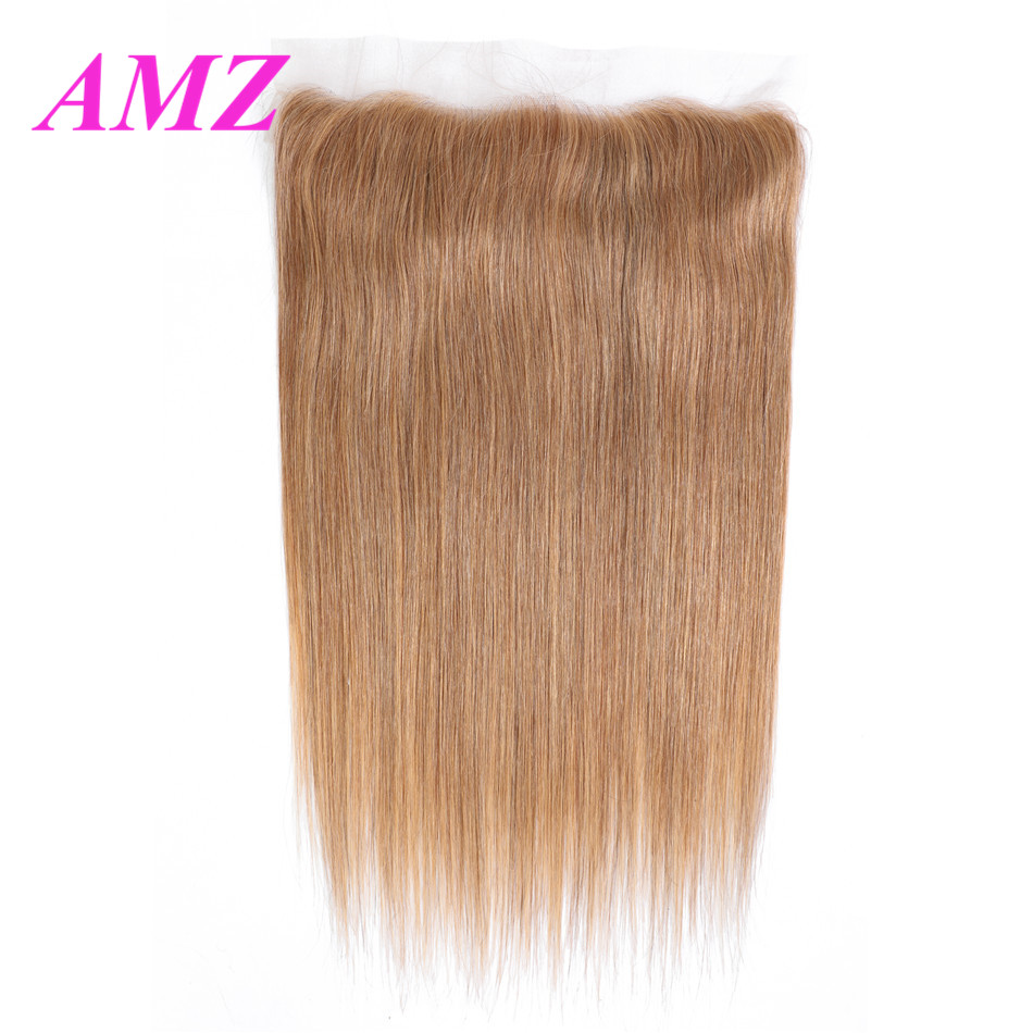 Ombre #27 Brazilian Hair 13x4 Straight Lace Frontal Closure Pre-Colored Remy Hair Free/Middle/Three Part Human Hair Closure AMZ