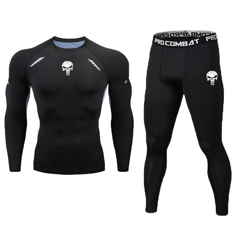 Sport Sets Men Running Shirt Bodybuilding Suit Compression Tights 2020 Printed Punisher Gym T Shirt Men Fitness Leggings Joggers
