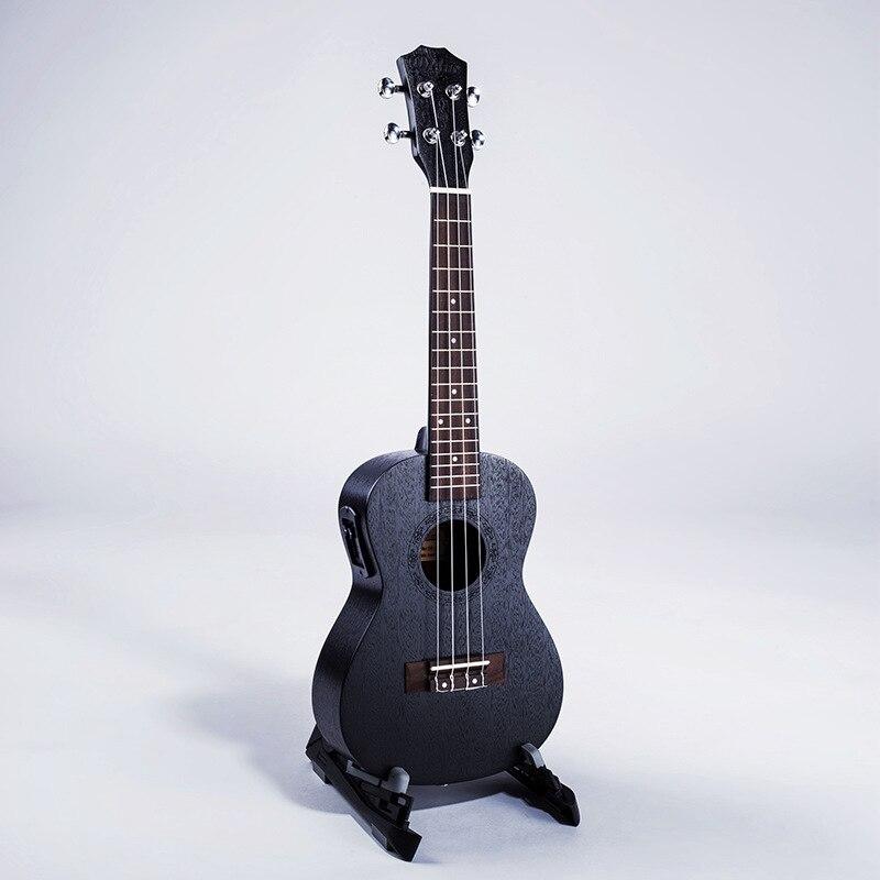 23 pouces noir et blanc avec motif acajou boîte électrique-avec EQ ukulélé 4 cordes petite guitare