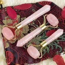 Розовый кварц ролики для лифтинга лица мини массажер Кристальный