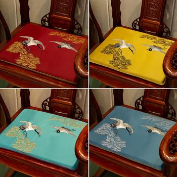 Chinese Embroidered Pine Crane Ethnic Seat Cushion Sofa Chair Anti-slip Pads Satin Cushions Seats Dining Chair Armchair Seat Mat