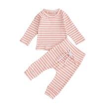 Комплекты одежды для девочек зимняя полосатая футболка с длинным