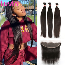 Human-Hair-Bundles Lace Closure Luvin Hair Weave Straight with 14x3 And 13--4
