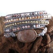 RH-Bracelet Boho, cordon Vegan, pierres naturelles, breloque, 5 brins tissés, Bracelets d'enveloppement livraison directe